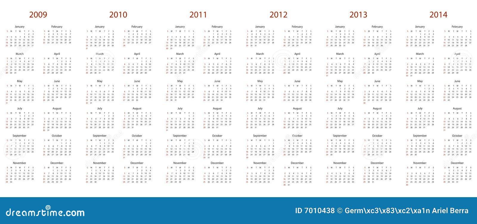 Calendrier pour 2009, 2010, 2011, 2012, 2013 et 2014