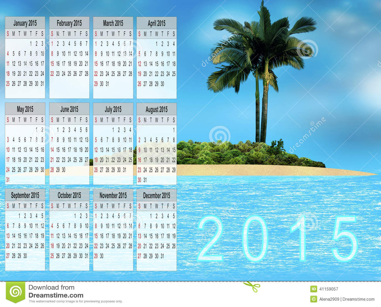 Calendrier pour 2015 illustration stock image 41159057 for Calendrier jardin fevrier 2015