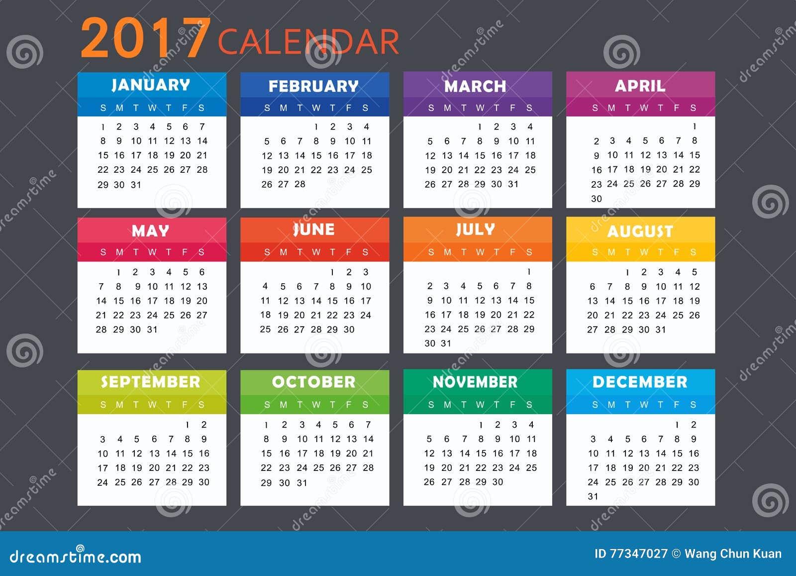 Calendrier pour 2017