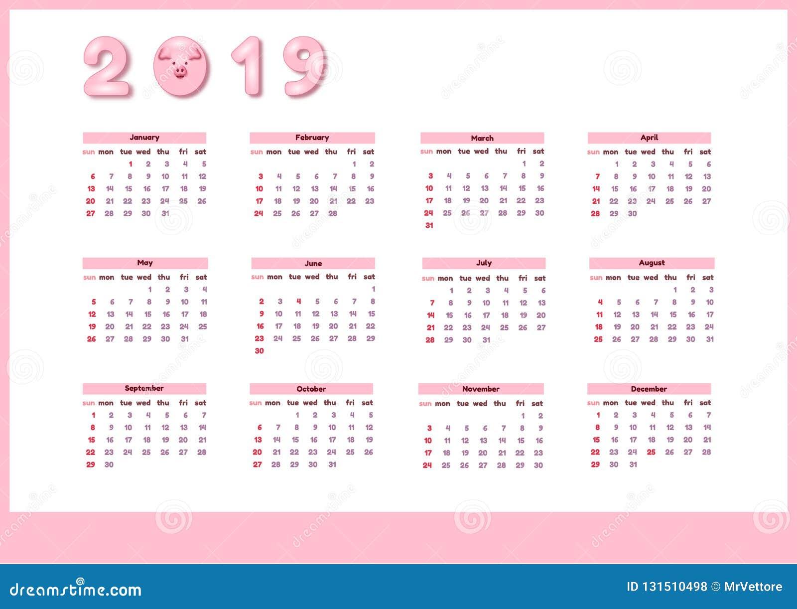 Calendrier pour 2019 avec le porc rose mignon de couleur Calibre editable vertical de vecteur Débuts de semaine dimanche