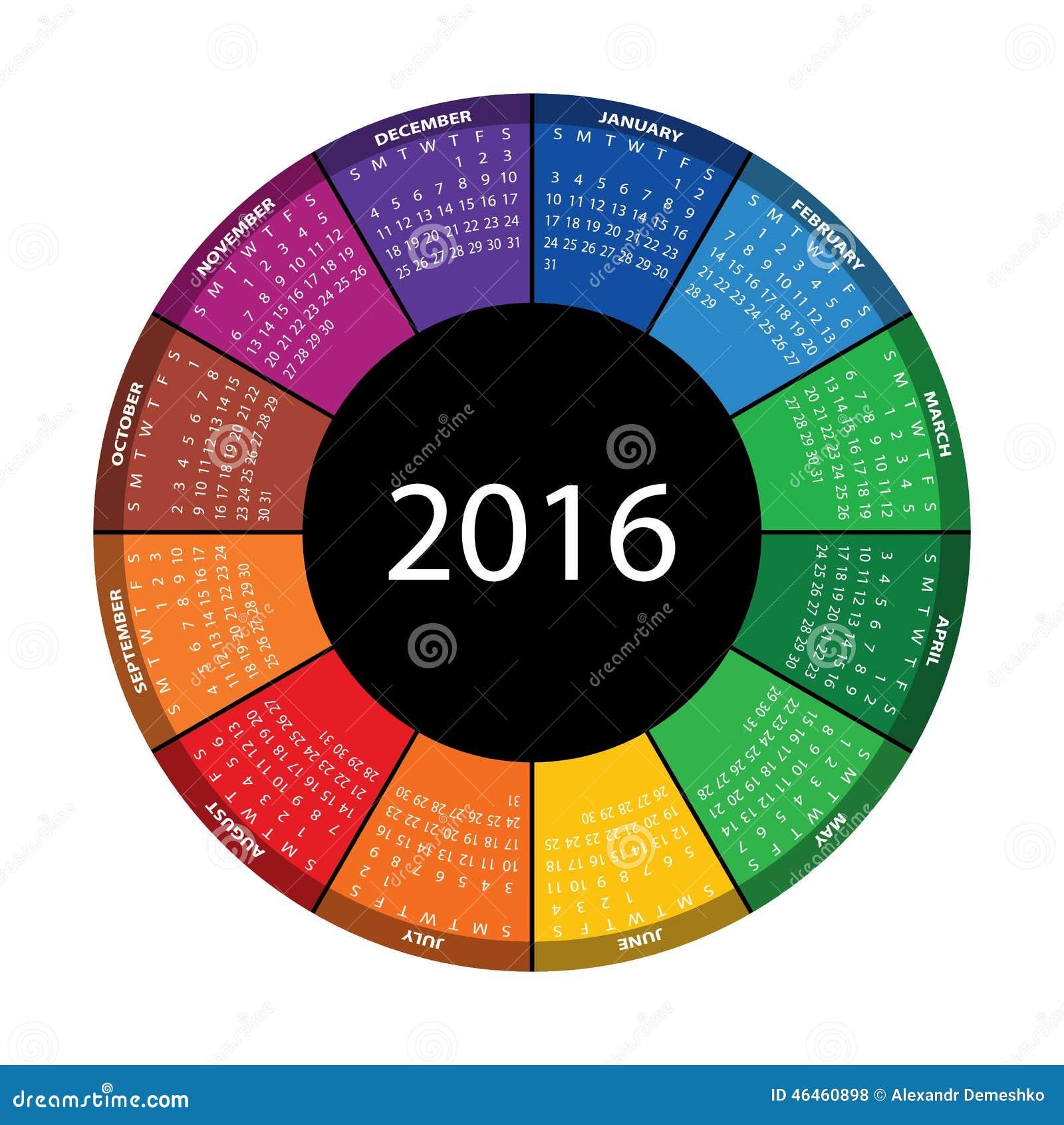 calendrier rond color pendant 2016 ann es illustration de vecteur illustration du. Black Bedroom Furniture Sets. Home Design Ideas