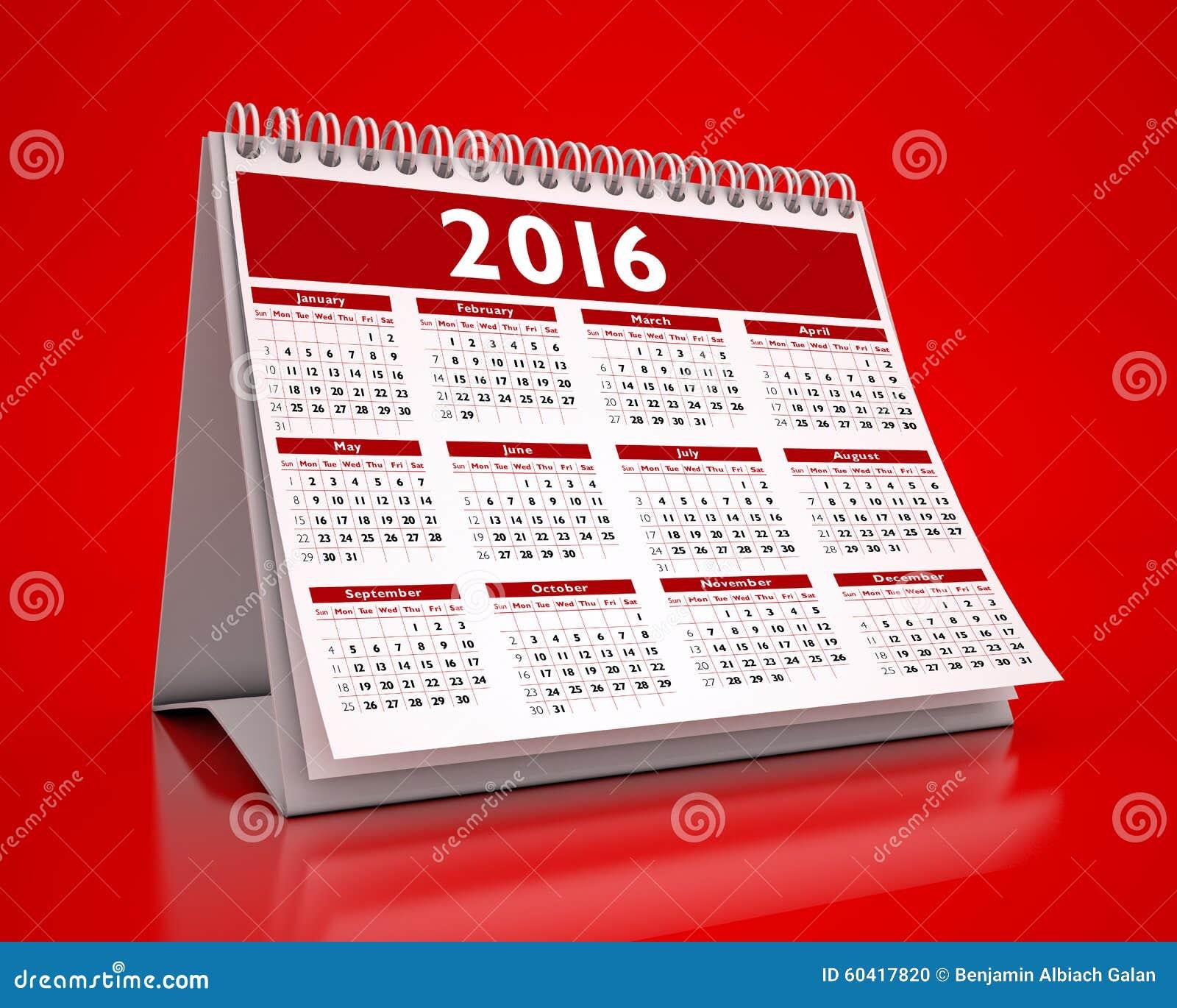 Calendrier rouge de bureau 2016 illustration stock image 60417820 - Calendrier sur le bureau ...