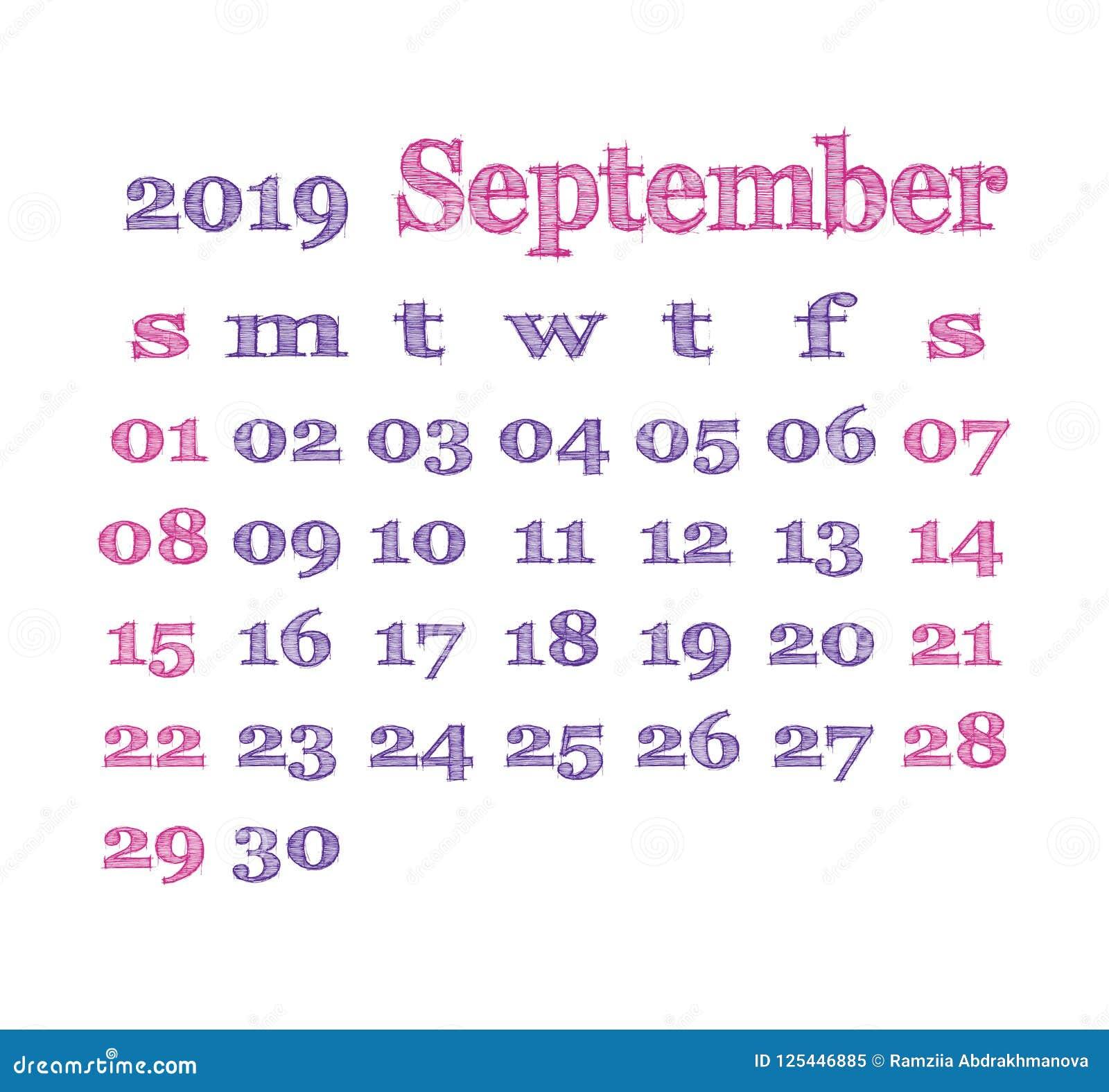 Petit Calendrier 2019.Calendrier 2019 Septembre Descripteur De Vecteur Calendrier