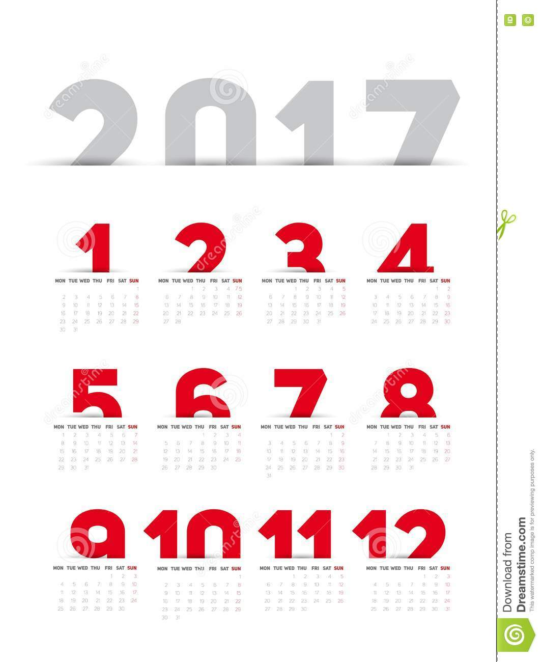 Calendrier 2017 simple
