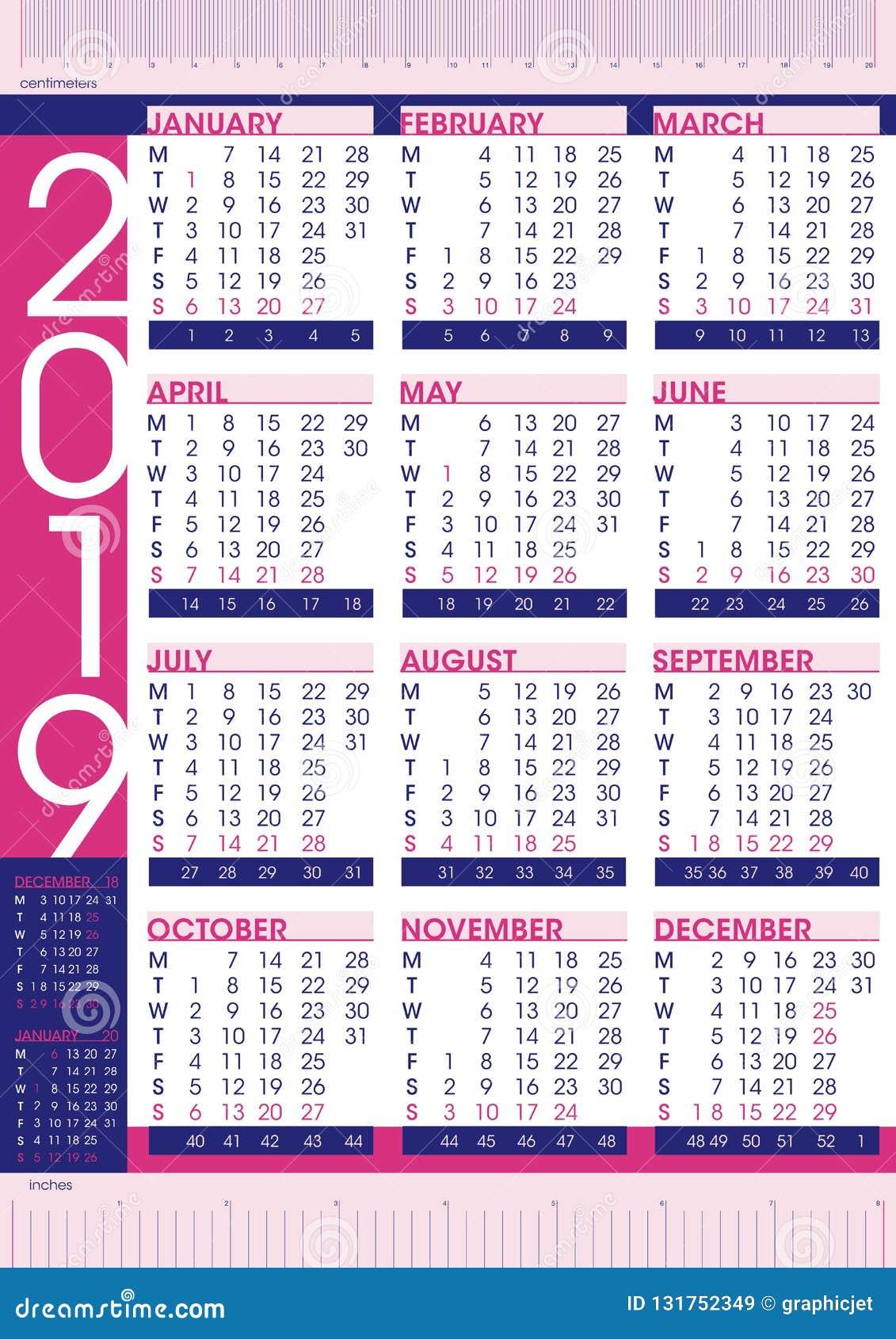 Calendrier Avec Numero Semaine.Calendrier Simple D Affaires Et 2019 Commerciaux De Style