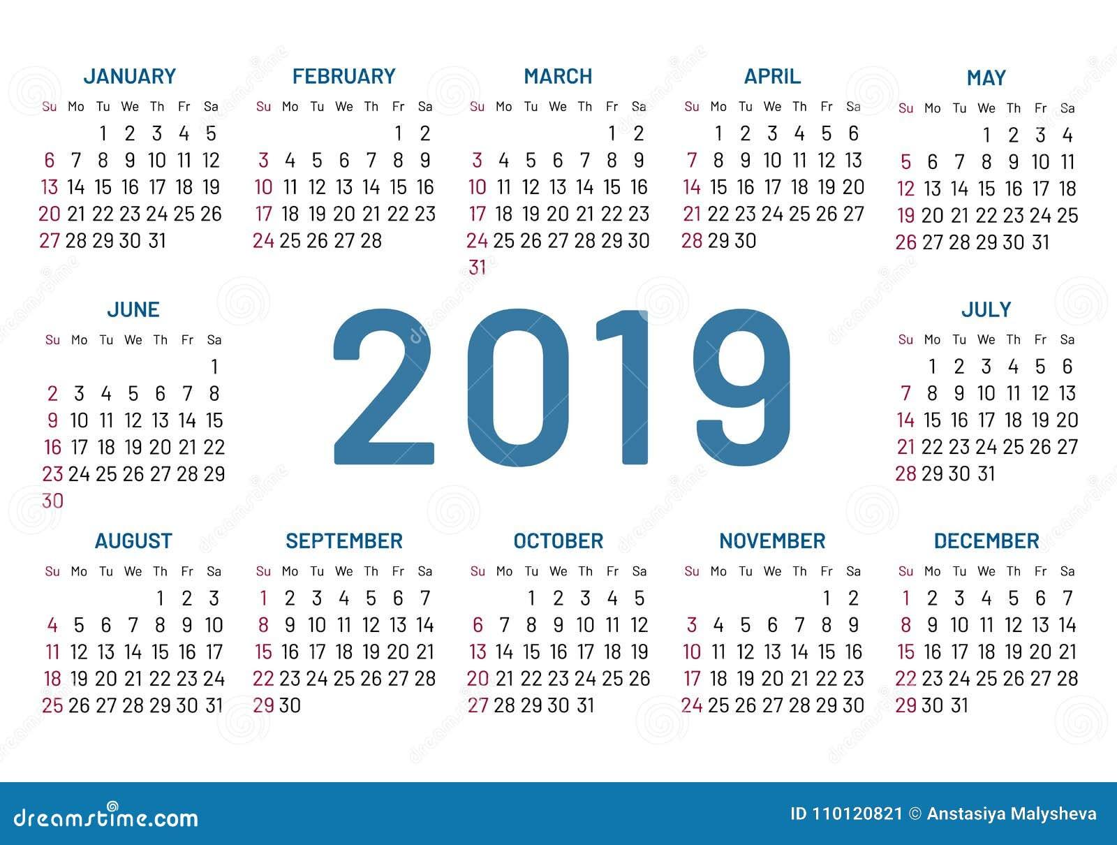 Calendrier De Poche 2019.Calendrier Simple De Poche 2019 Centre Annee Plat D