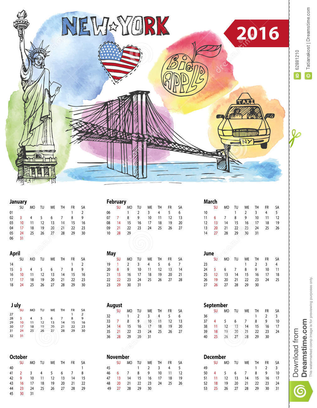 calendrier 2016 symboles de new york illustration de. Black Bedroom Furniture Sets. Home Design Ideas