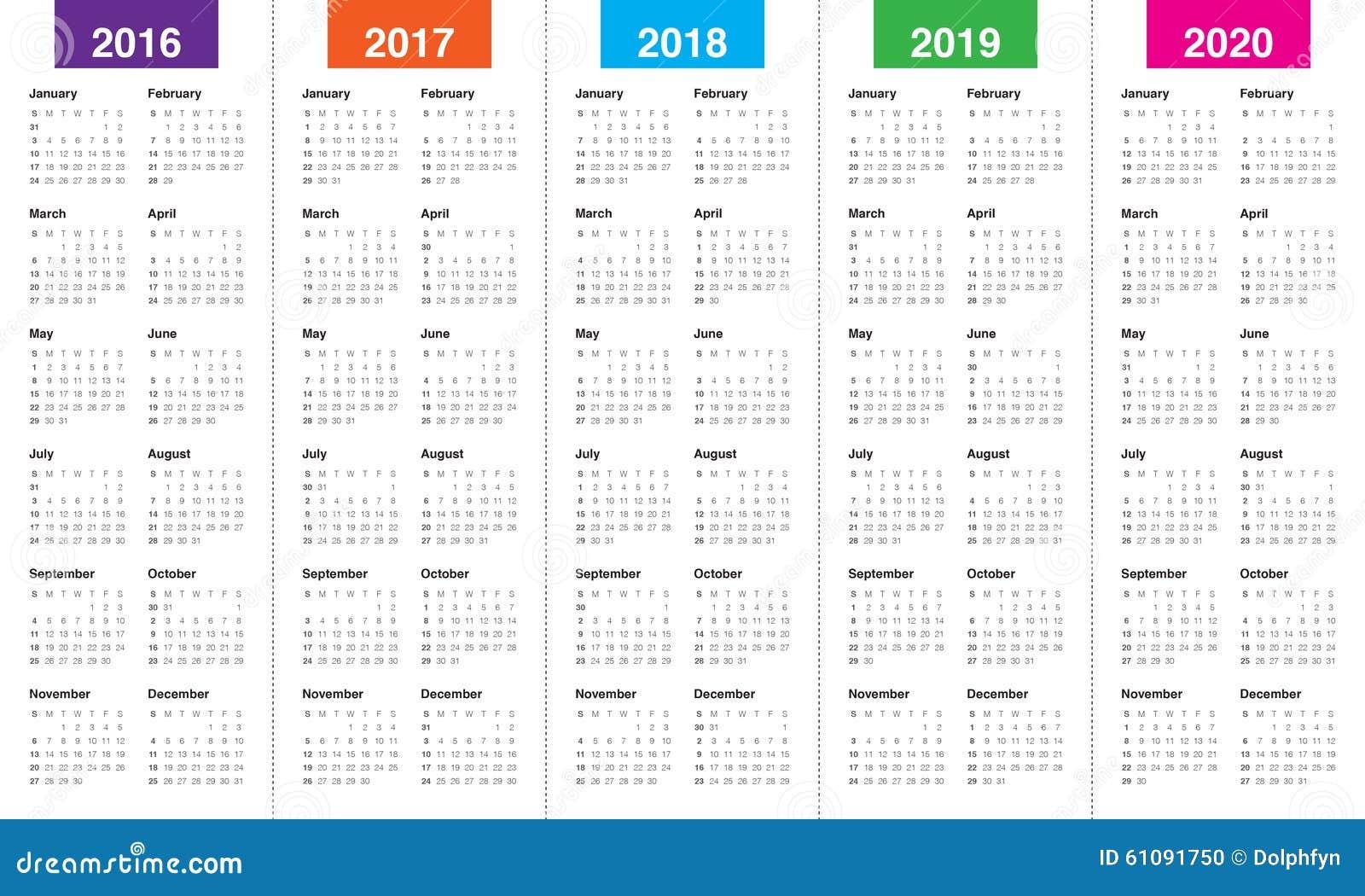 Calendário 2016 2017 2018 2019 2020 Ilustração do Vetor - Imagem ...