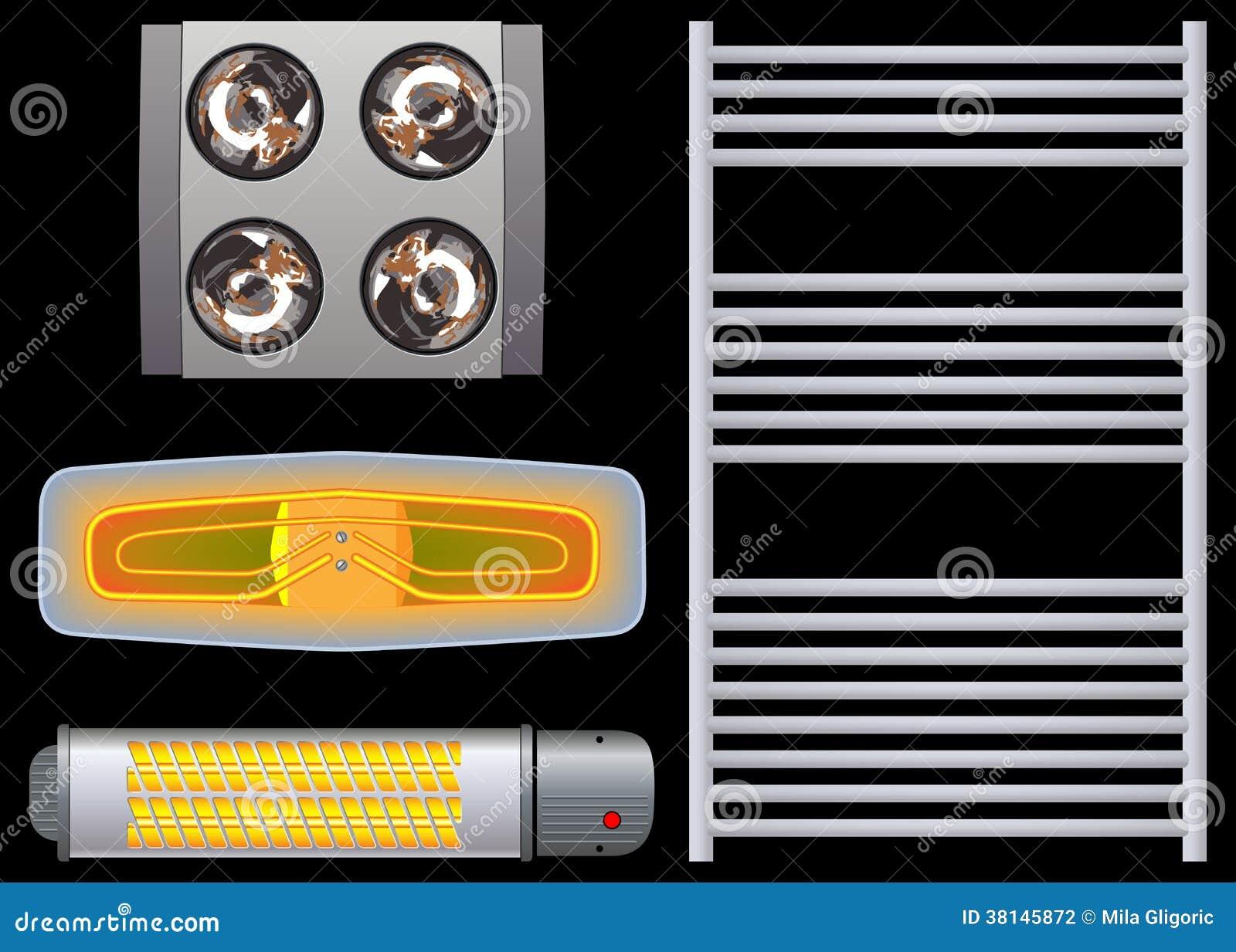 Calentadores Para Cuartos De Bano.Calentador Para El Negro Del Cuarto De Bano Foto De Archivo
