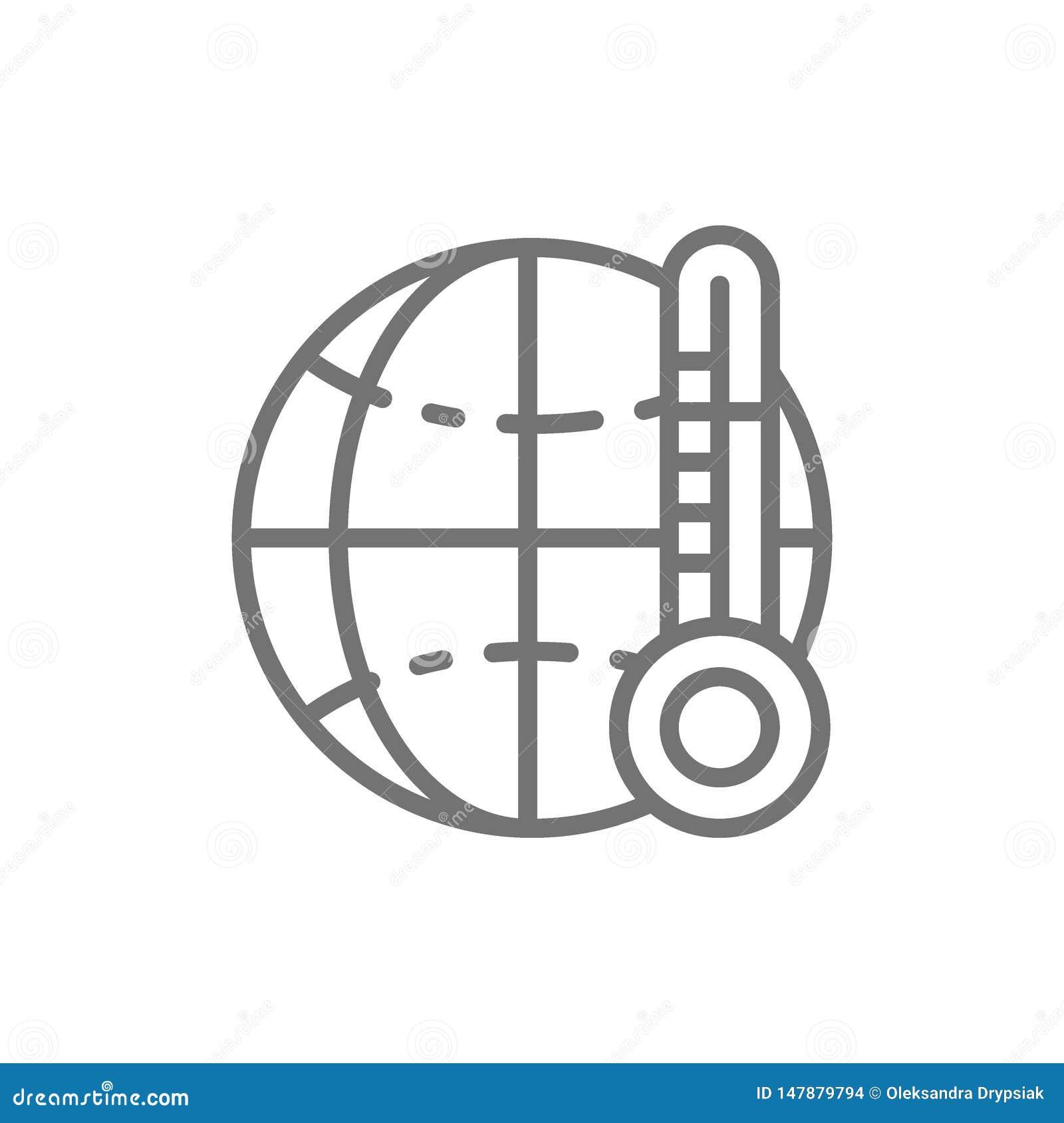 Calentamiento del planeta, línea anormalmente da alta temperatura icono