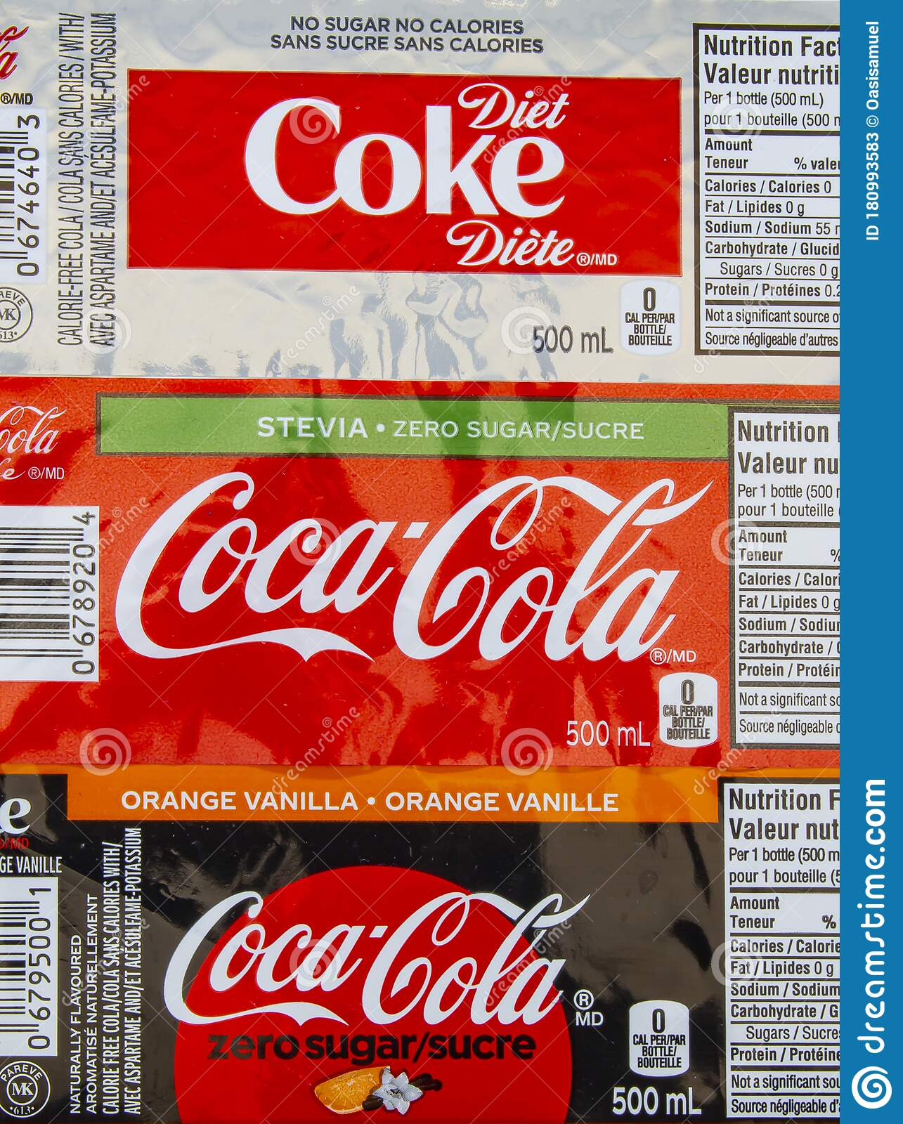 Top View Of Coca Cola And Coke Drink Labels Editorial