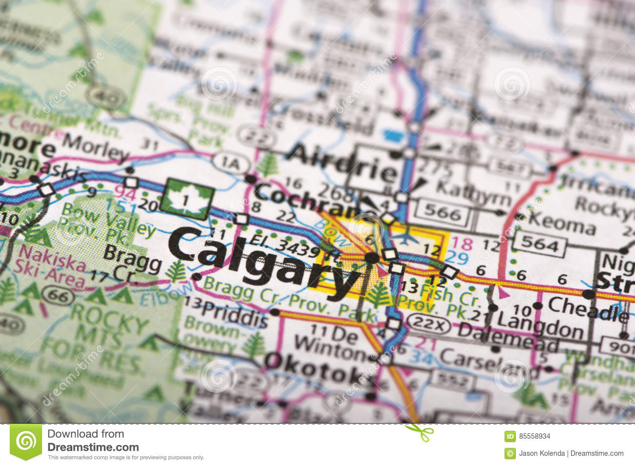 Calgary Canada On Map Stock Photo Image Of Metropolitan 85558934