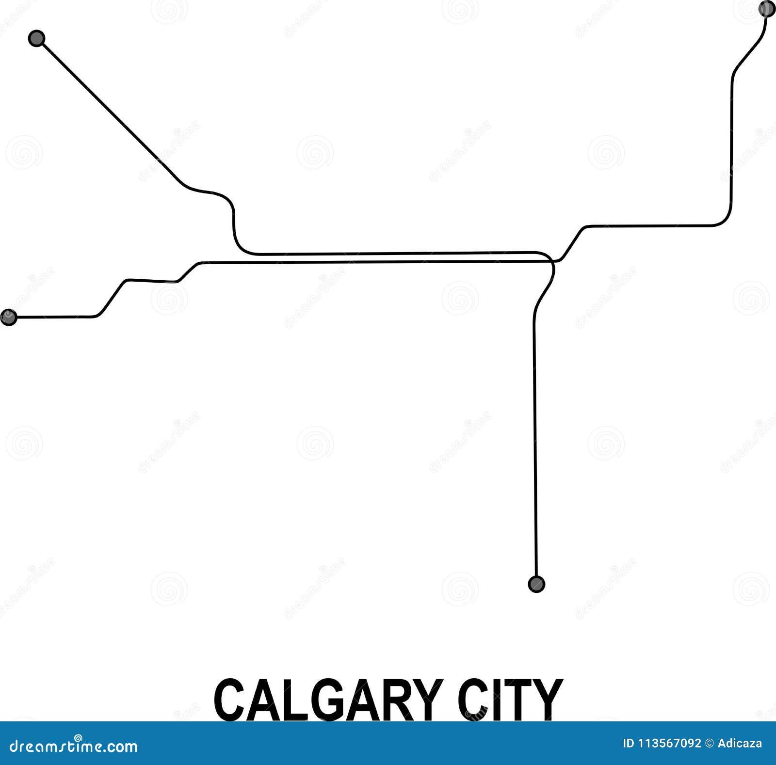 Calgary Subway Map.Calgary City Map Stock Vector Illustration Of Metro 113567092