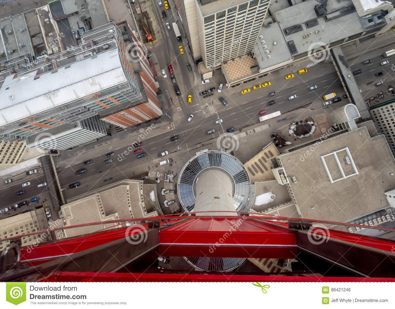 Calgary From The Glass Floor Of The Calgary Tower Stock Photo