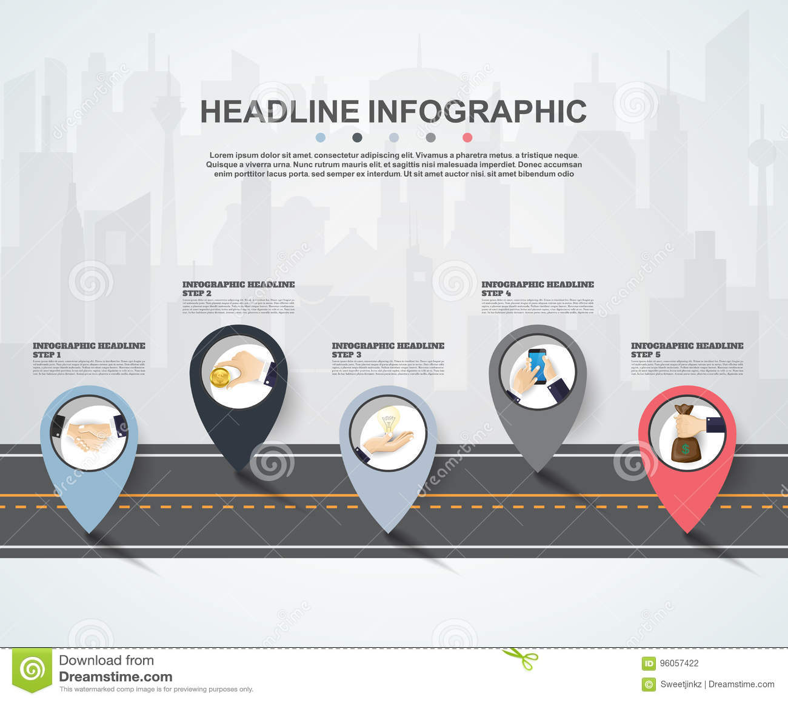Calibre abstrait d options de nombre d infographics Illustrati de vecteur