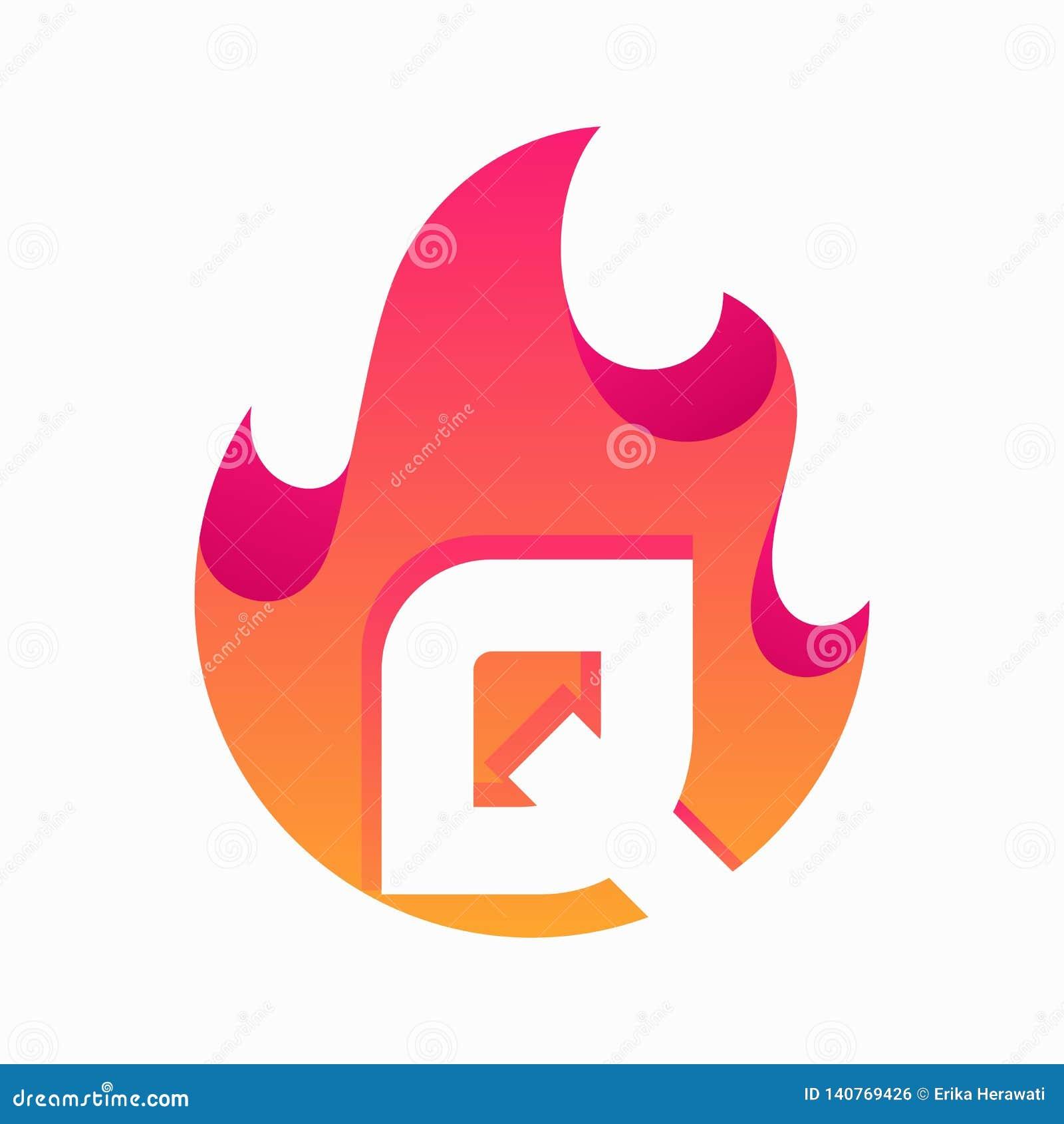 Calibre abstrait de vecteur de conception de la lettre Q du feu