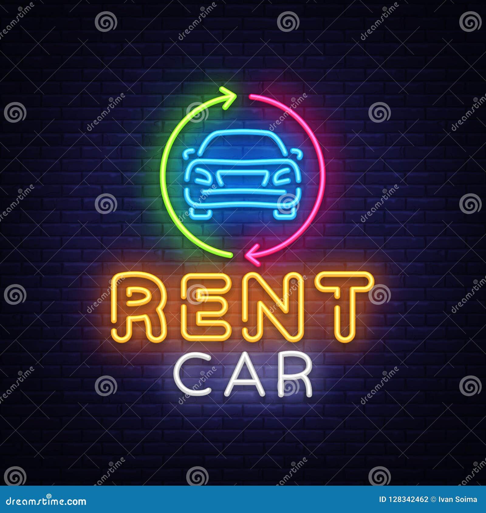 65eb1ff9547f76 Calibre au néon de conception de vecteur d emblème de voiture de loyer  Enseigne au néon