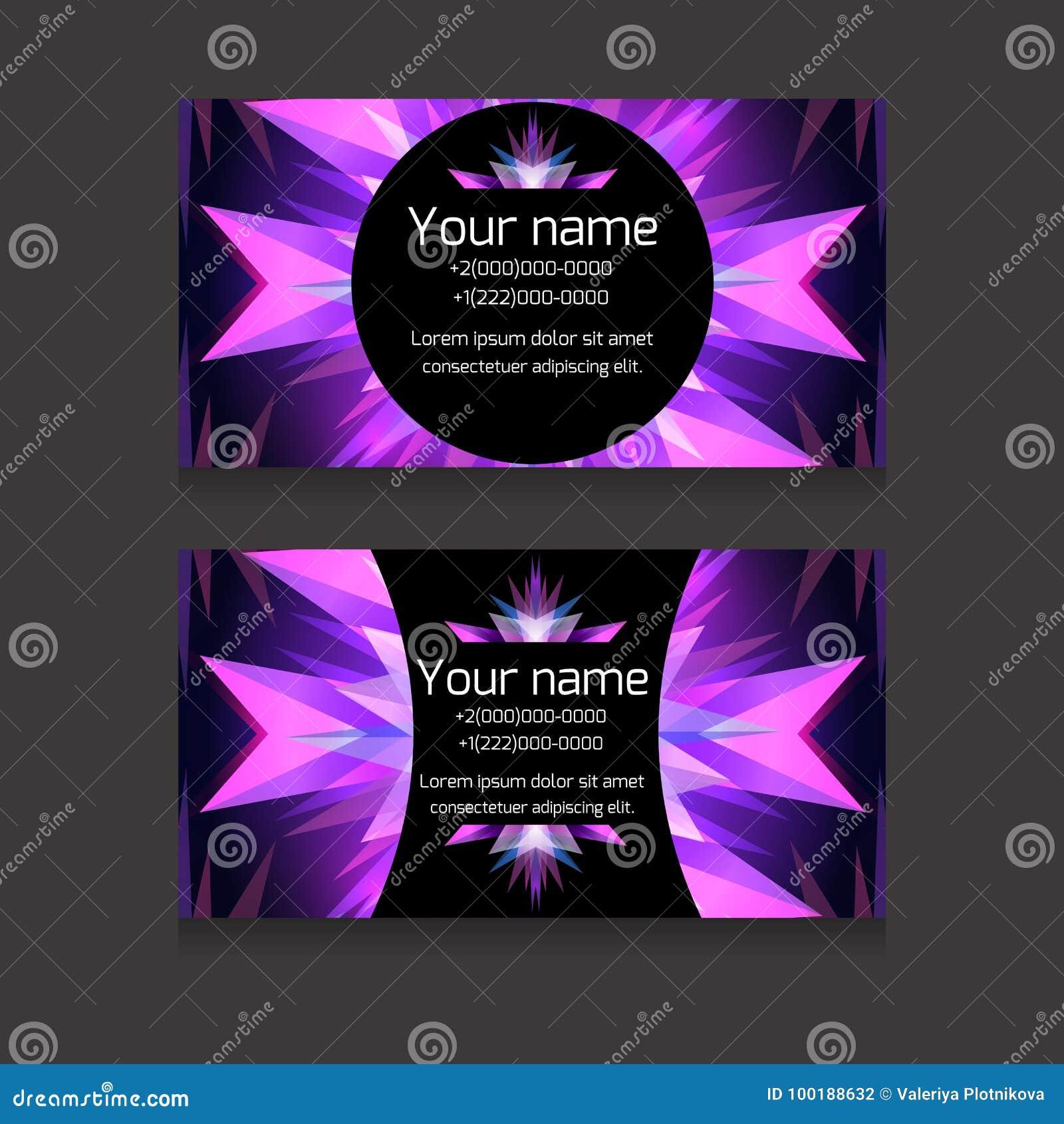 Calibre Au Neon Double Face De Vecteur Carte Visite Professionnelle Maquette Element Pour Lartiste Le DJ Et Votre Conception