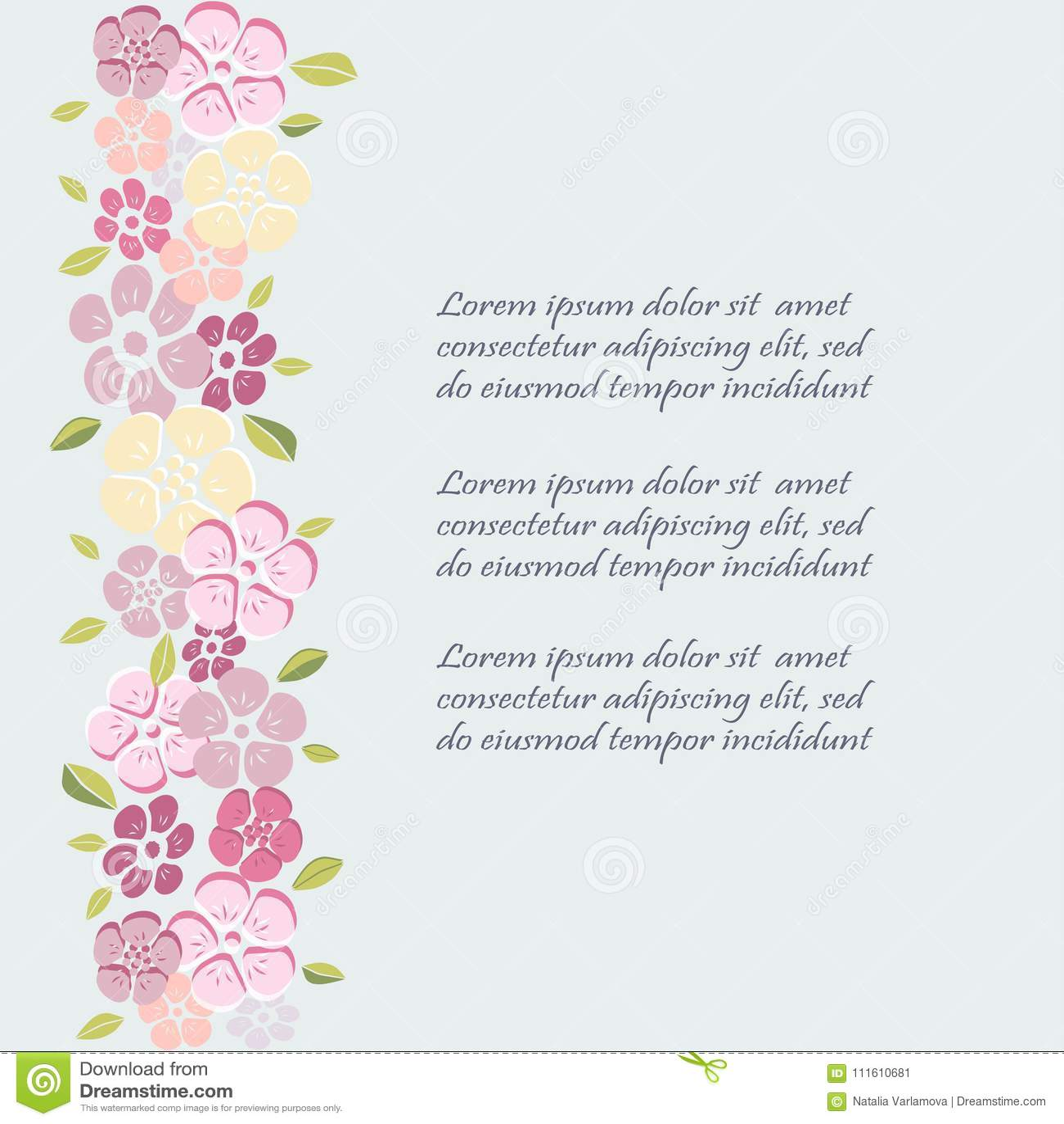 Calibre Avec Des Fleurs Pour L Invitation De Partie Carte De Voeux