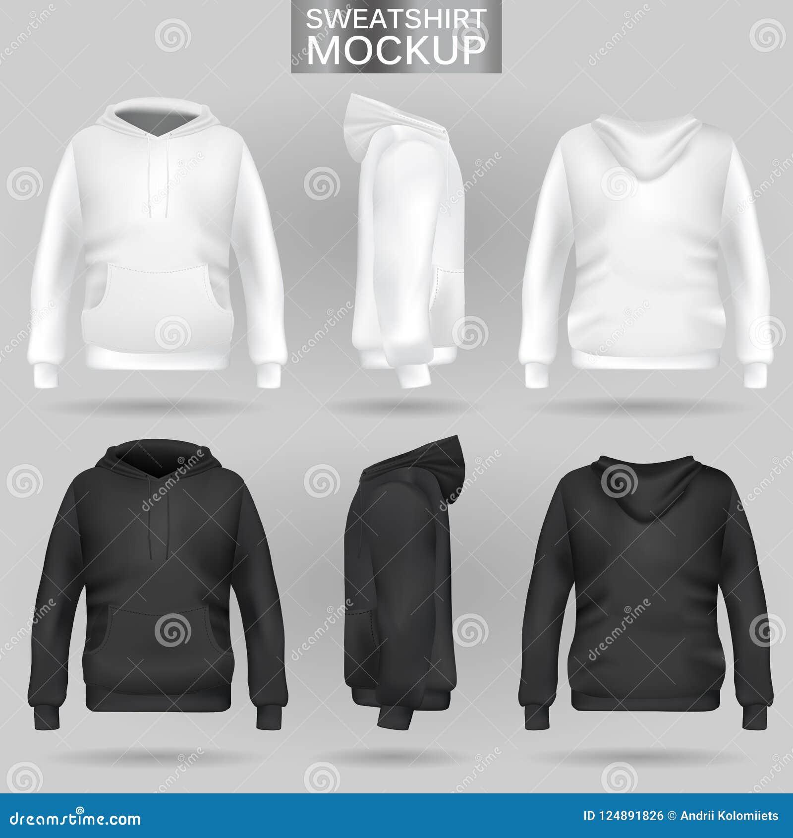 edc58650afa66 Calibre blanc et noir de hoodie de pull molletonné dans trois dimensions :  avant, côté et vue arrière, vecteur réaliste de maille de gradient  Vêtements pour ...