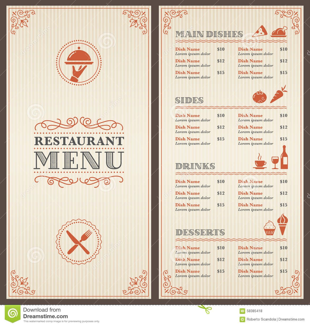 Calibre Classique De Menu De Restaurant Illustration De