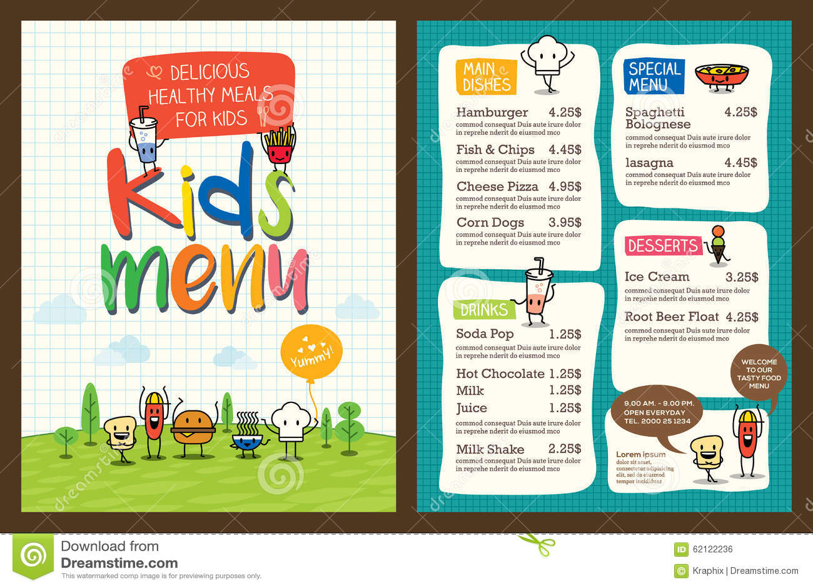 Calibre coloré mignon de menu de repas d enfants