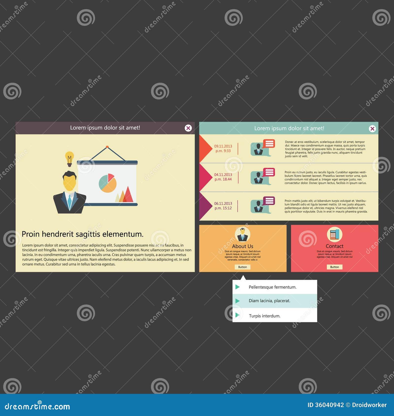 Calibre/conception infographic plats de l interface utilisateurs de vecteur (UI)