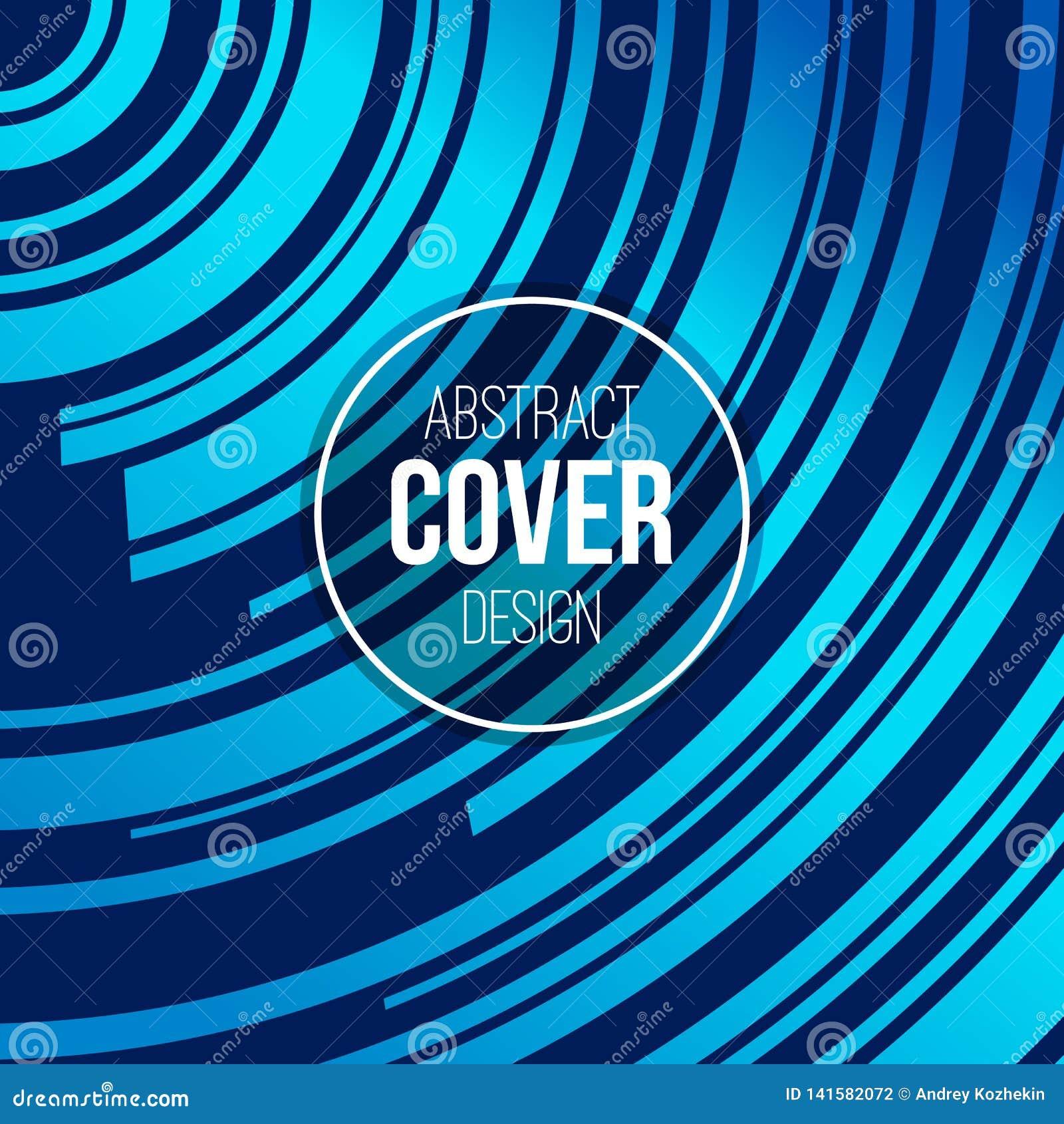 Calibre créatif abstrait de disposition de concept Rayures, vagues dans le bleu, couleurs de turquoise Fond de vecteur