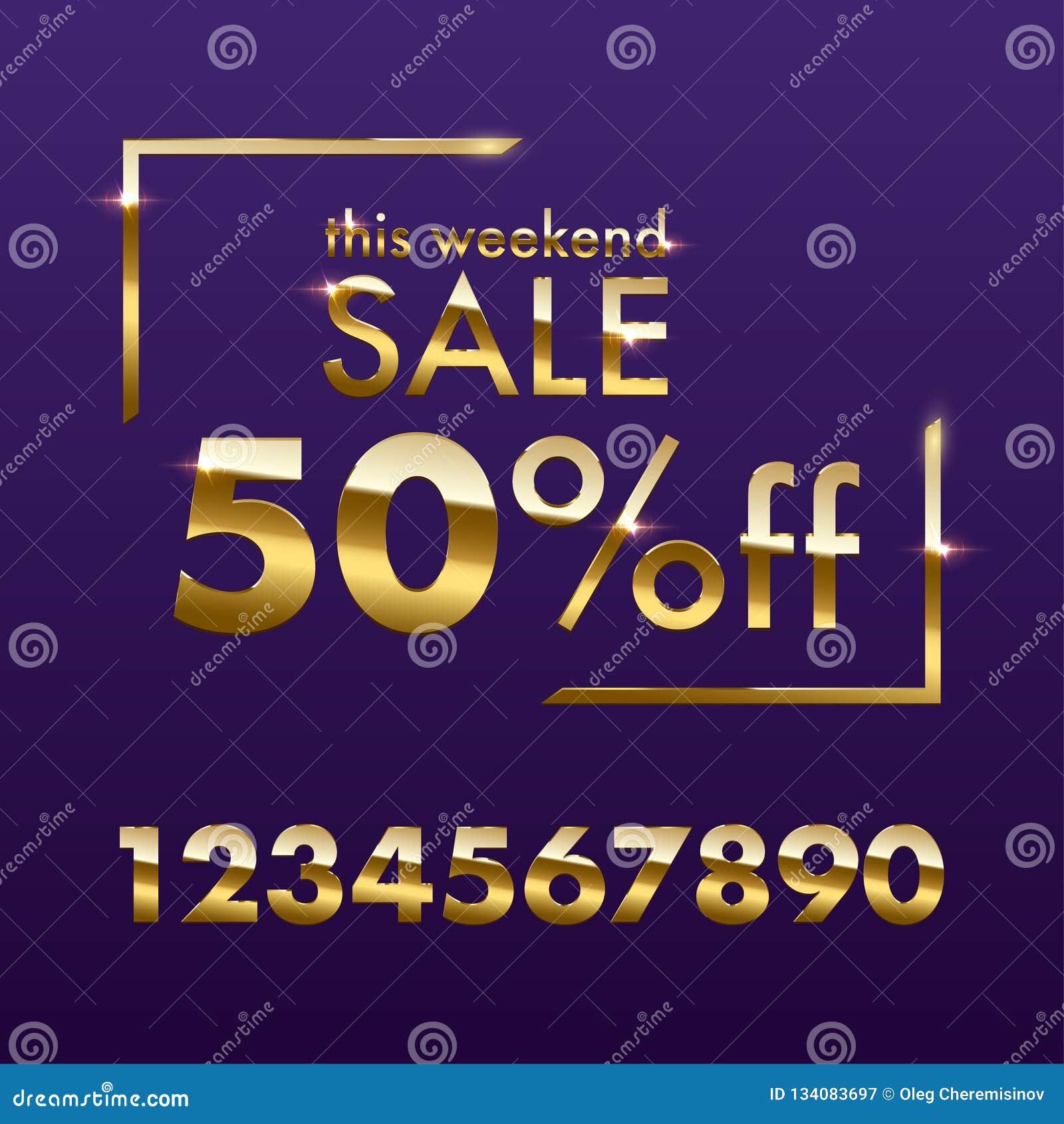 Calibre d or de signe de vente Texte d or de vente de ce week-end de vecteur avec des nombres pour l offre de remise d isolement