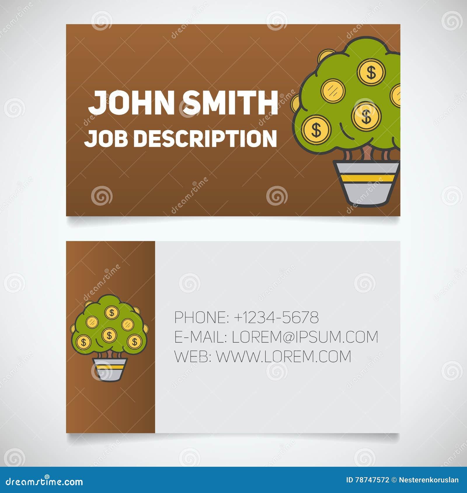 Calibre Dimpression De Carte Visite Professionnelle Avec Le Logo Darbre Dargent Facile Ditez Homme Daffaires Investisseur Concept