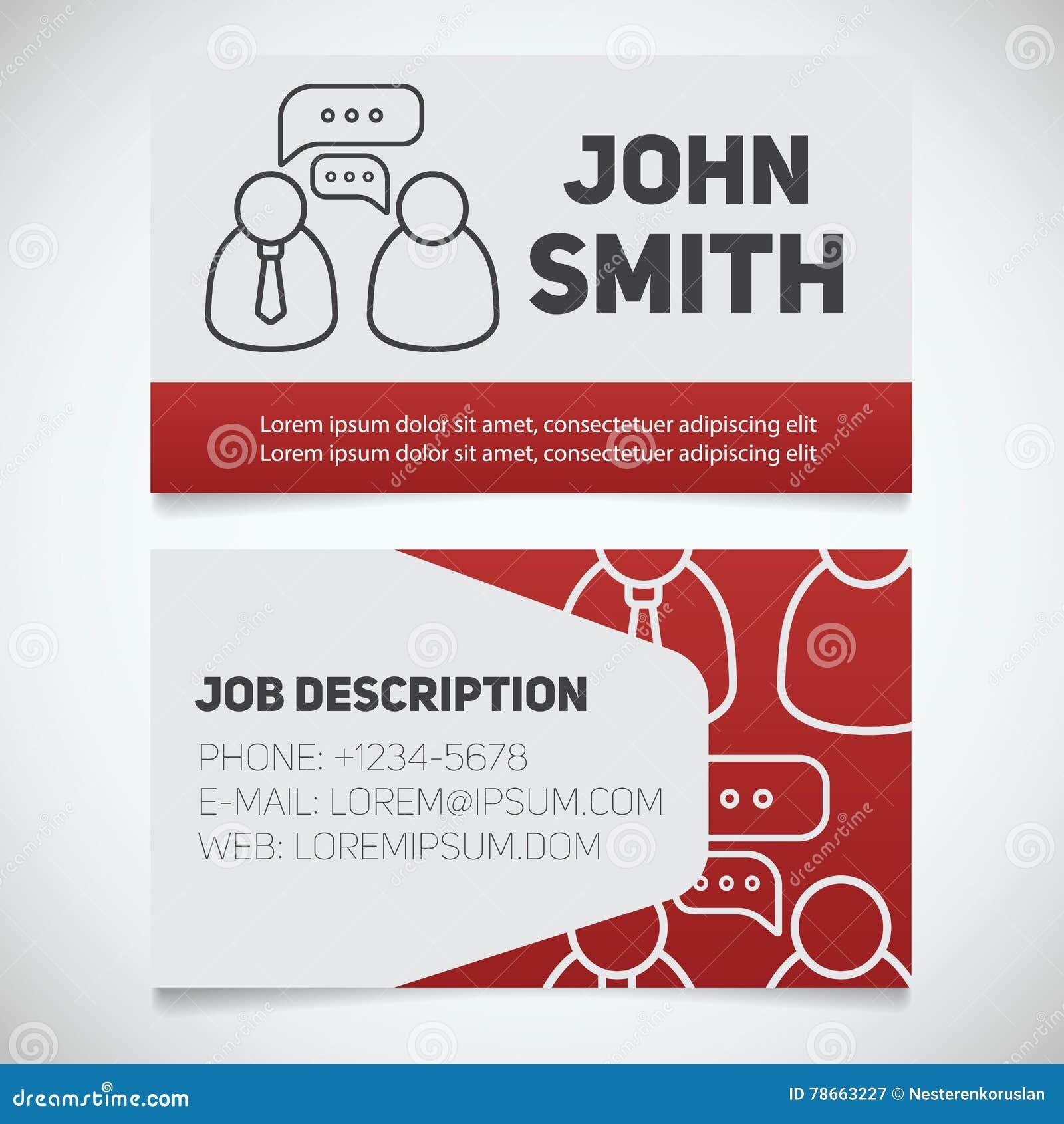 Calibre Dimpression De Carte Visite Professionnelle Avec Le Logo Dentrevue Facile Ditez Gestionnaire Journaliste Reporter Concept