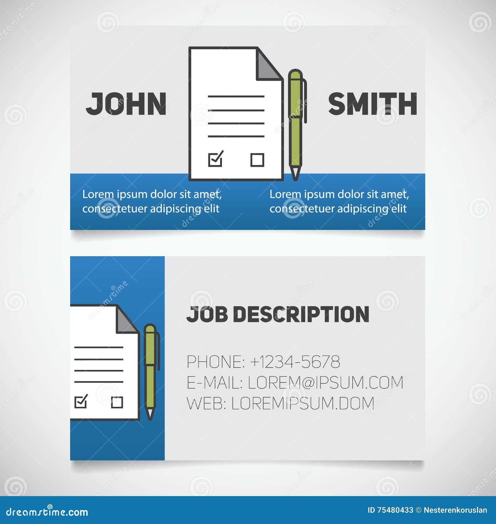 Calibre D Impression De Carte Visite Professionnelle Avec Le Logo Sign Contrat