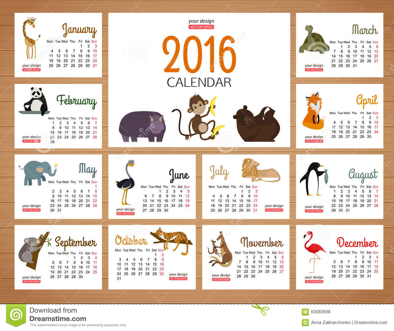 Download Calibre D'impression De Vecteur De Calendrier De Bureau Avec Le Zoo Illustration de Vecteur - Illustration du européen, gosses: 63082698