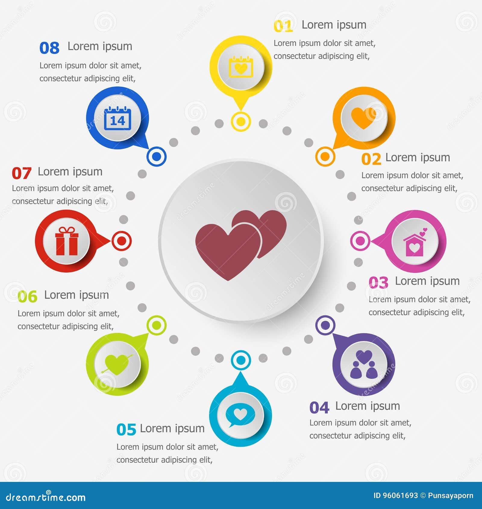 Calibre d Infographic avec des icônes d amour