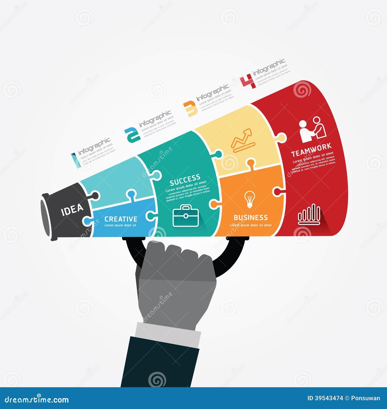 Calibre d Infographic avec la bannière de puzzle de mégaphone. concept