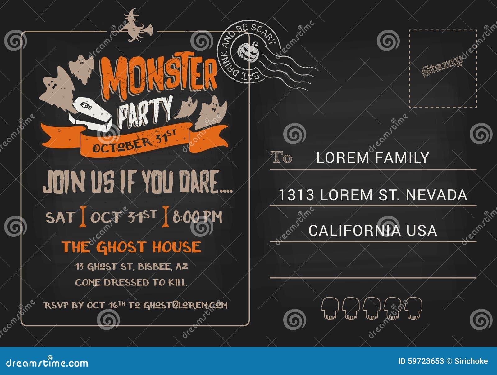 Calibre d 39 invitation de carte postale de partie de monstre de halloween illustration de vecteur - Carte invitation anniversaire monstre ...