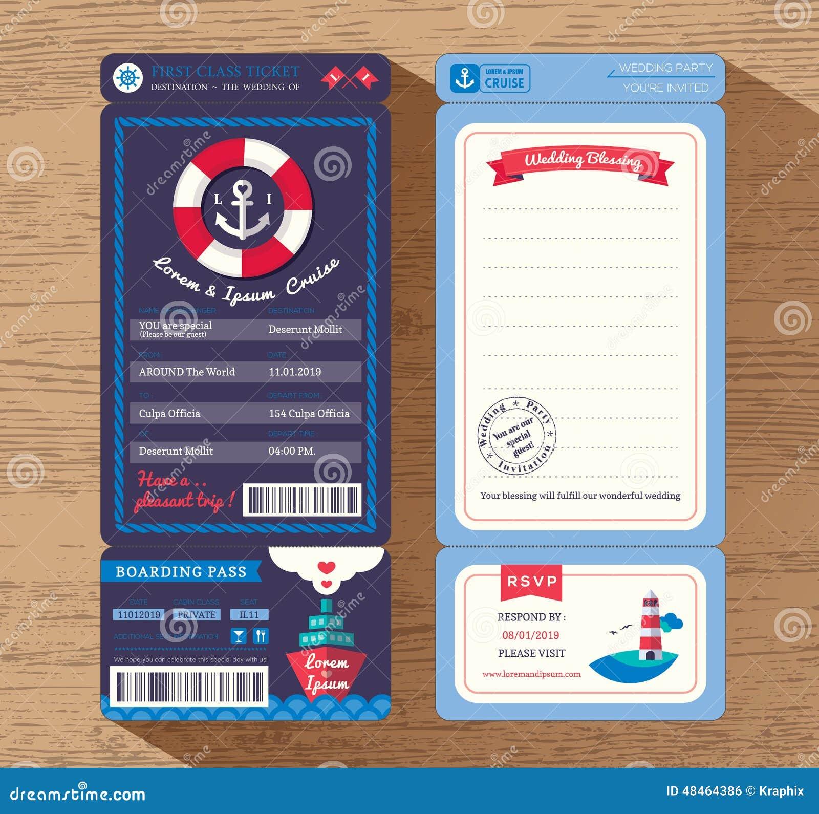 Calibre d invitation de mariage de billet de carte d embarquement de bateau de croisière