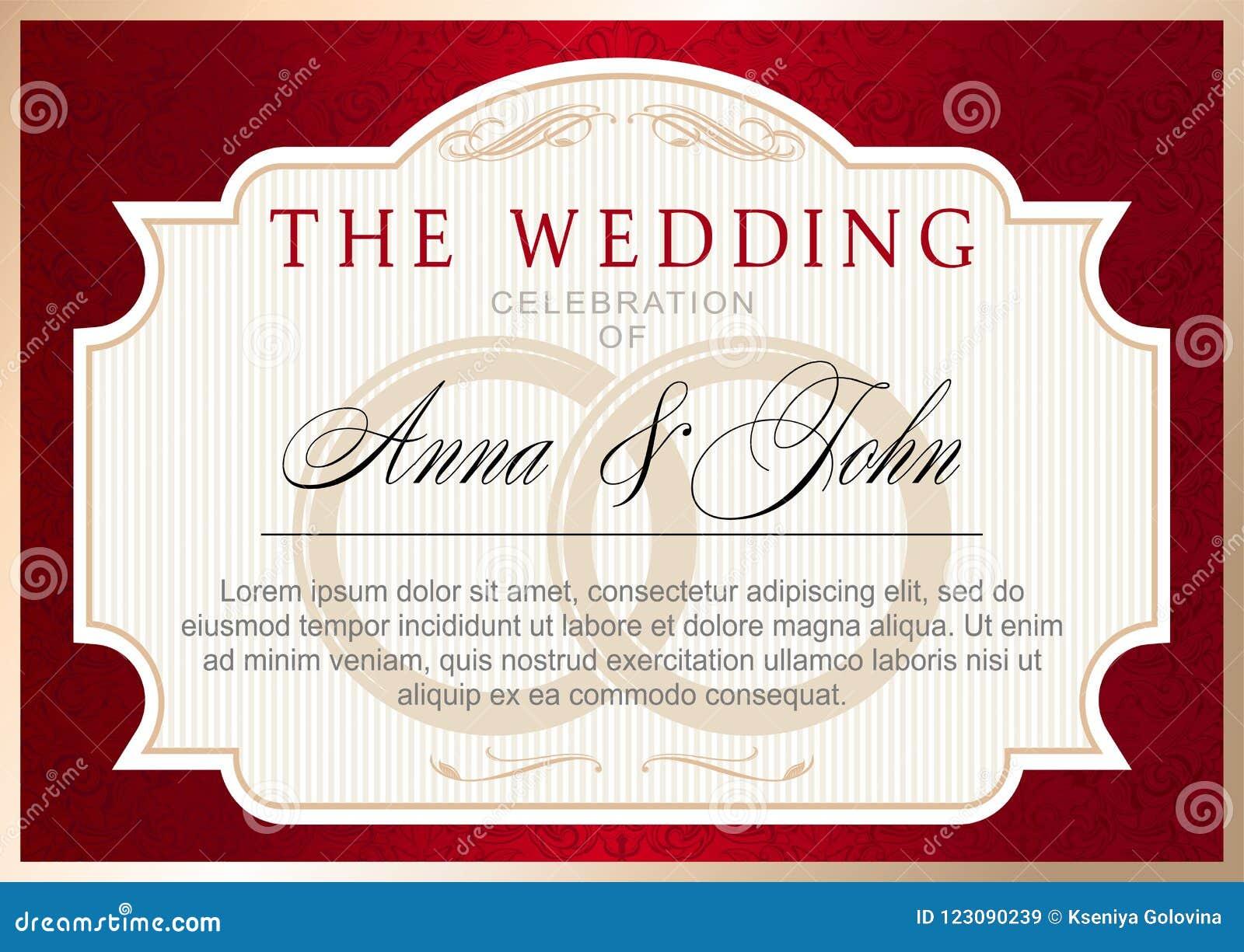 Calibre d invitation de mariage de vintage, rouge rouge avec de l or