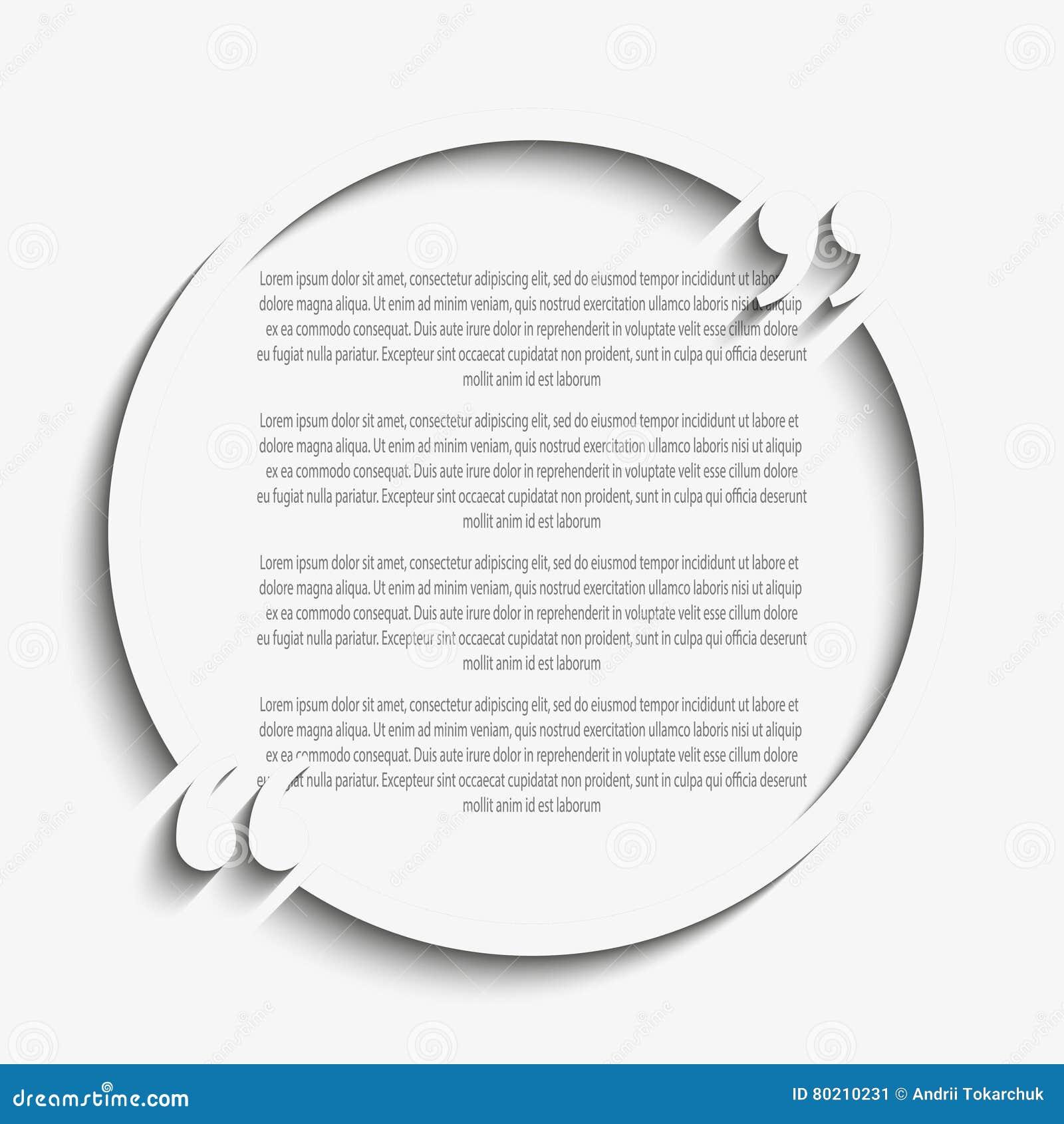 Calibre de blanc de cercle de citation de vecteur bride