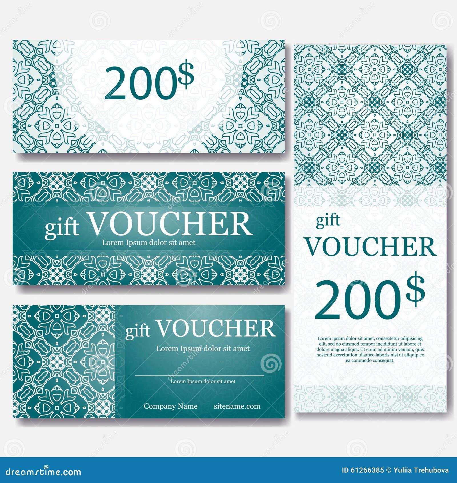 Calibre de bon de cadeau avec le mandala Concevez le certificat pour le centre de sport, la magazine ou etc. Bon de cadeau de vec