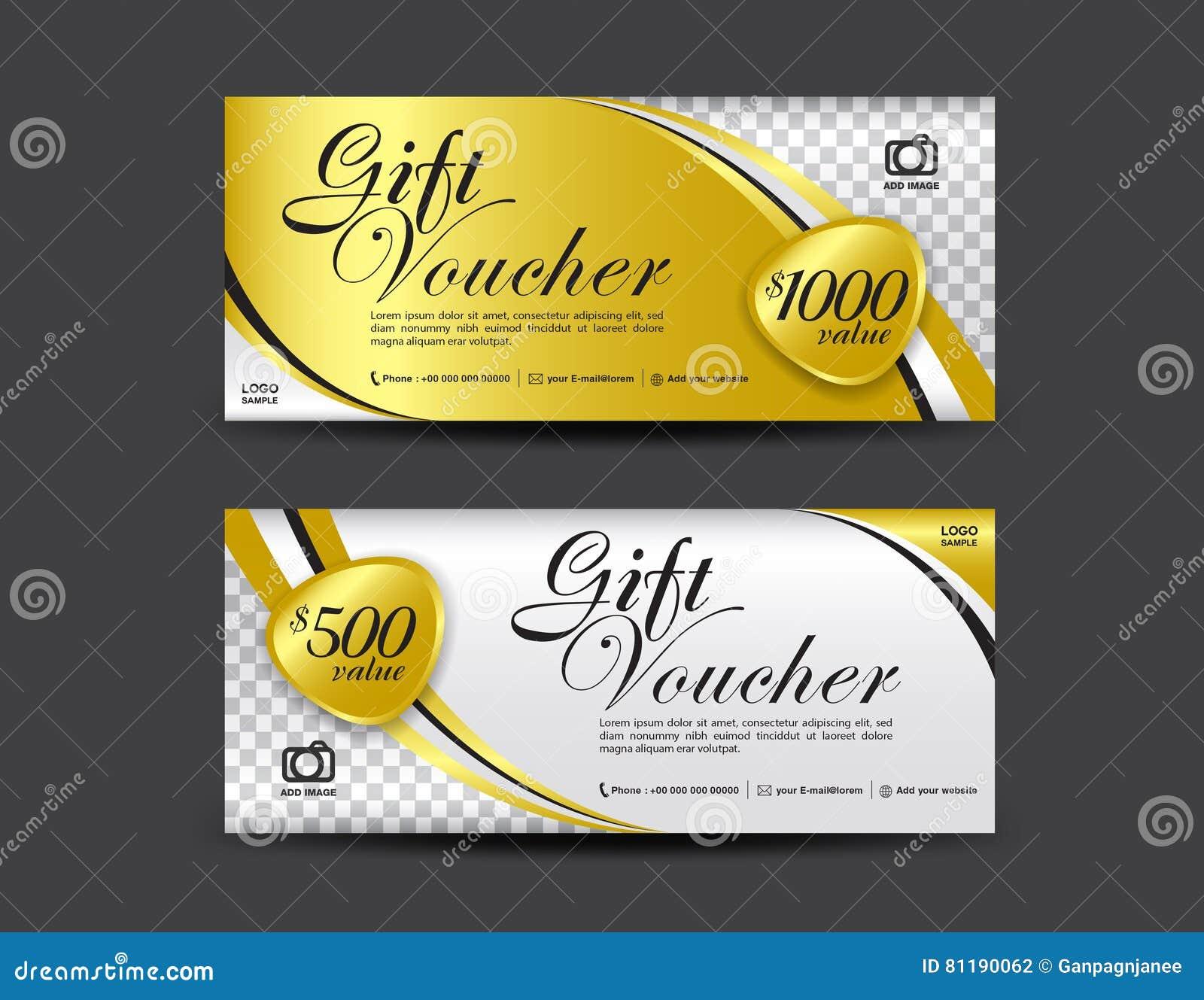 Calibre de bon de cadeau d or, conception de bon, chèque-cadeaux