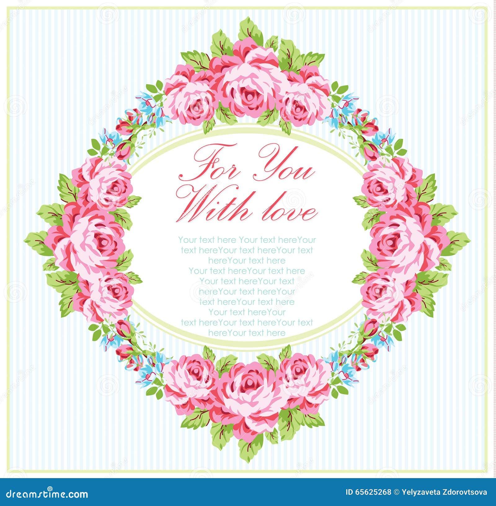 Calibre de carte avec des roses de rose de jardin