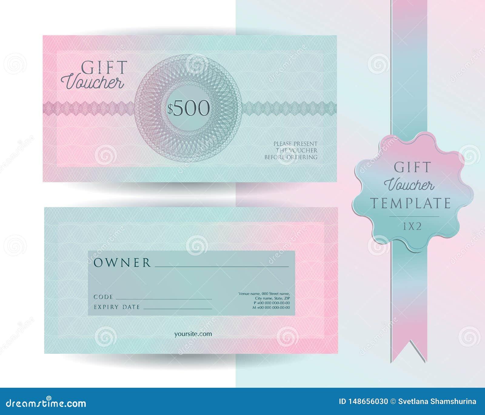 Calibre de carte de bon de cadeau Disposition moderne de certificat de la remise 500 avec le modèle de filigranes de guilloche Me