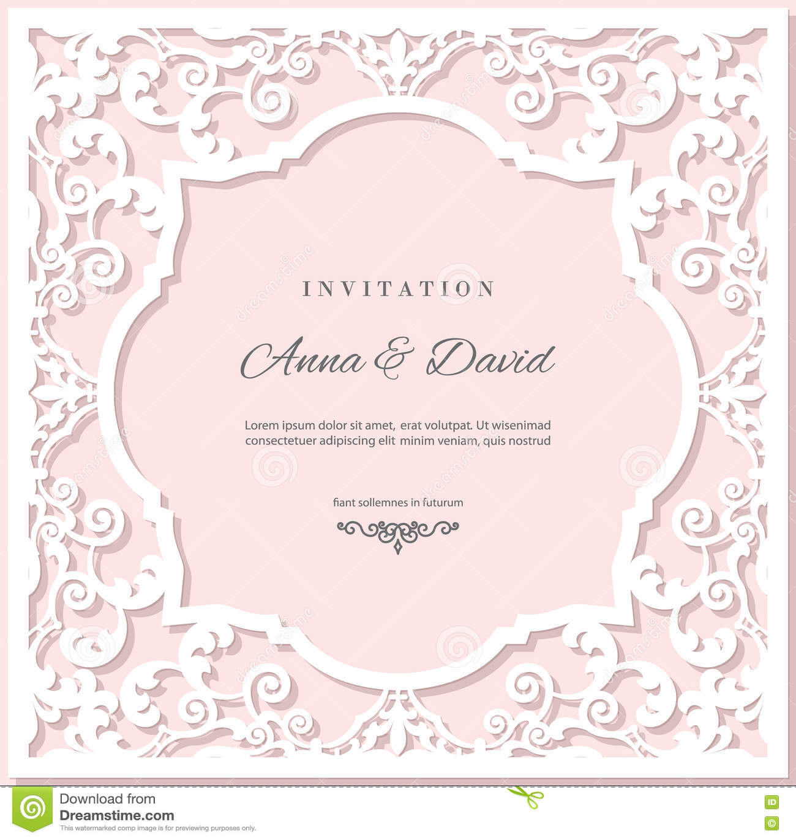 Calibre de carte d invitation de mariage avec le cadre de coupe de laser Couleurs de rose en pastel et de blanc