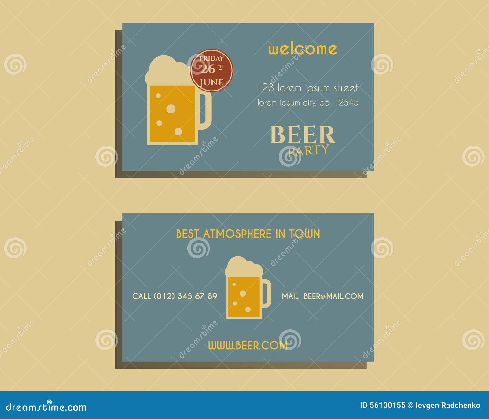 Calibre De Carte Visite Partie Biere Avec Le Verre Conception Vintage Pour Club Bar Ou La Nuit Sur Retro