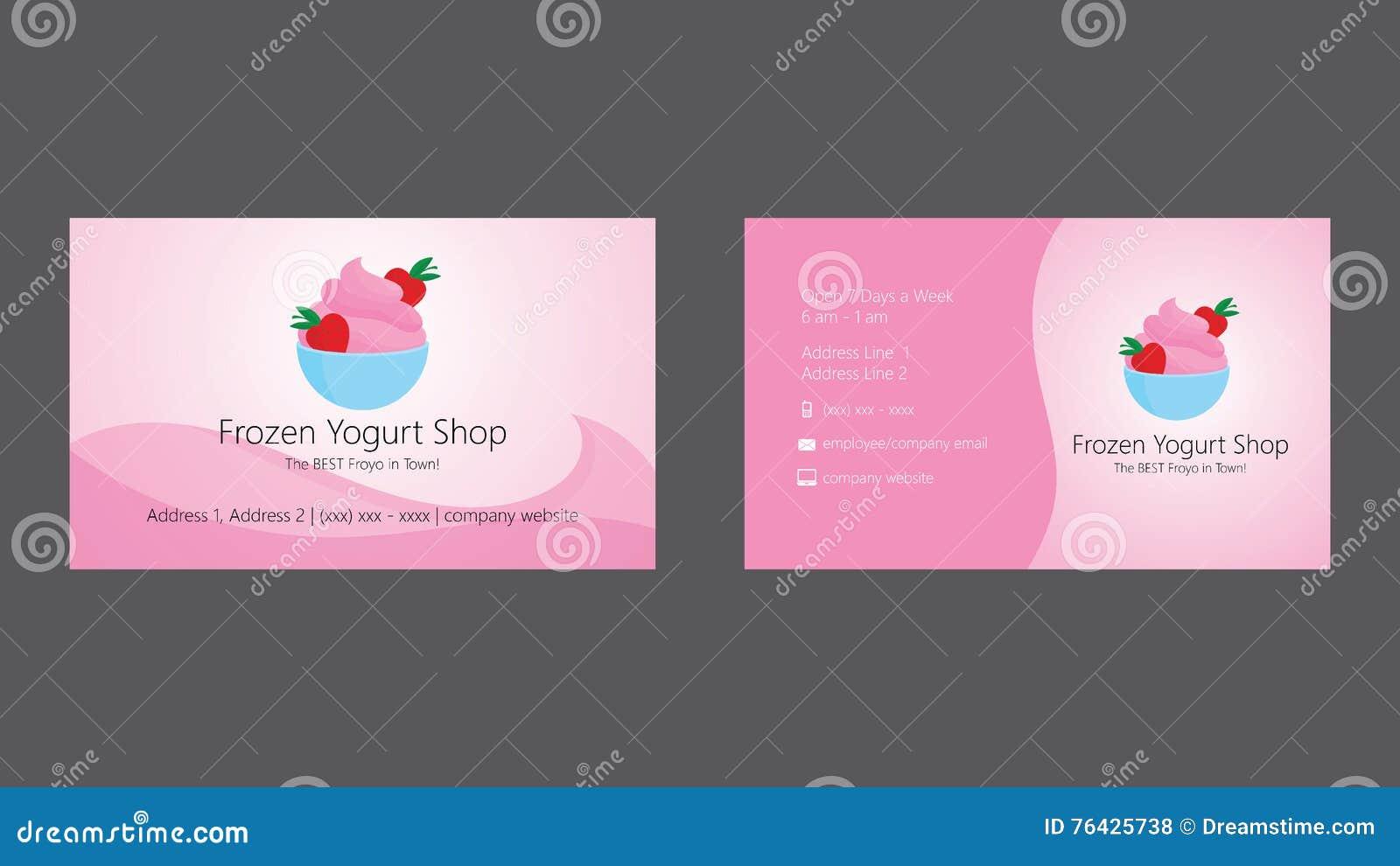 Calibre De Carte Visite Professionnelle Boutique Yogourt Glac