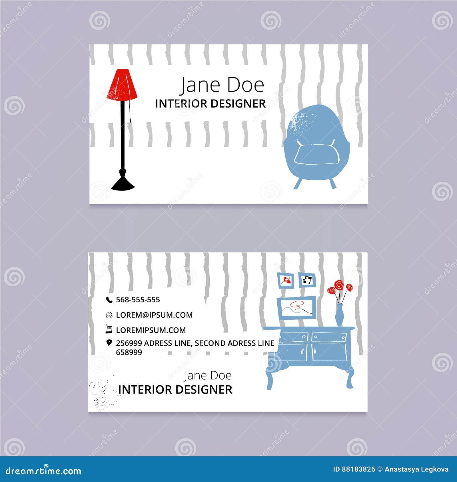 Calibre De Carte Visite Professionnelle Croquis Conception Intrieure