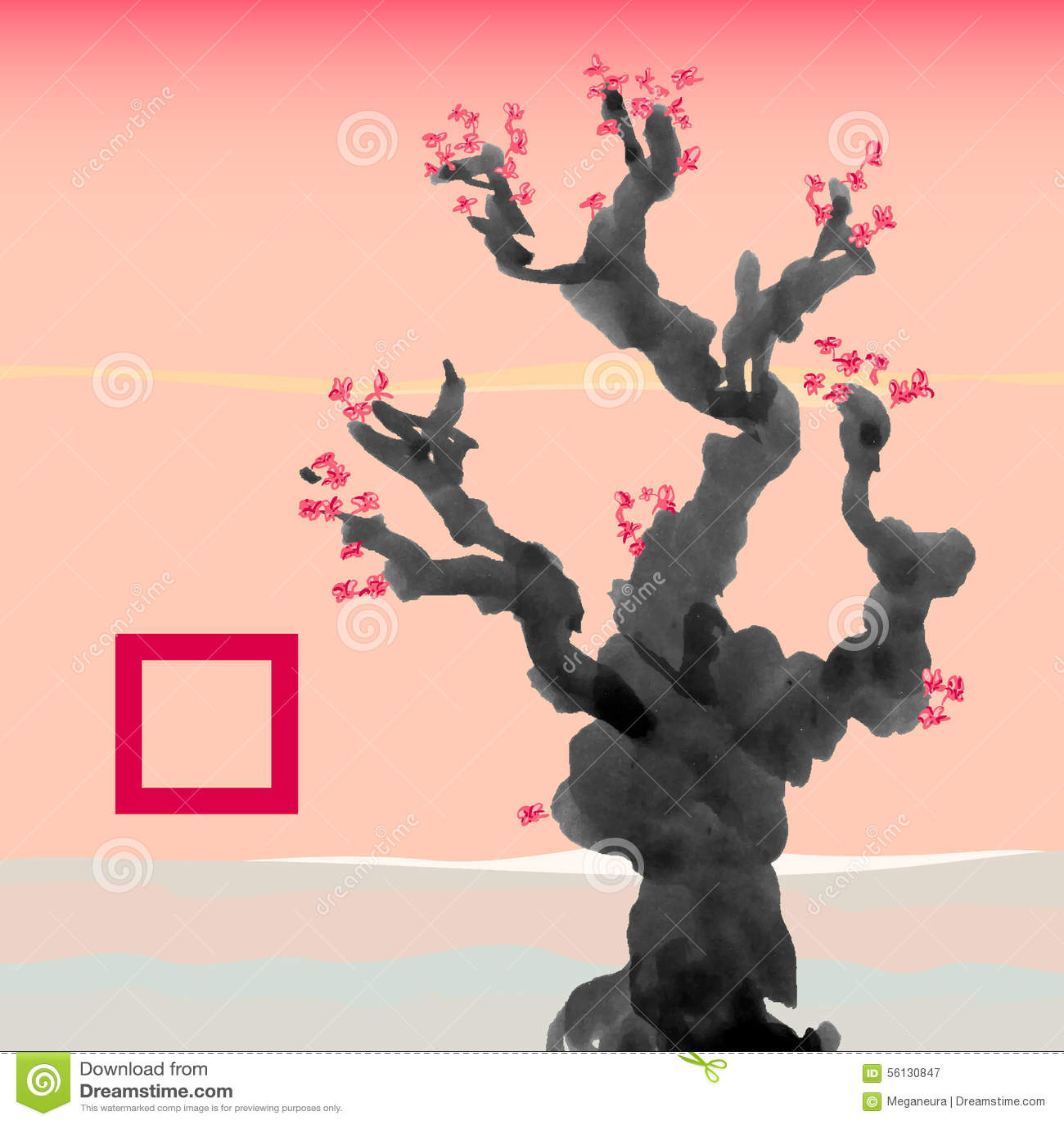 calibre de carte de voeux dans le style japonais arbre de floraison illustration de vecteur. Black Bedroom Furniture Sets. Home Design Ideas