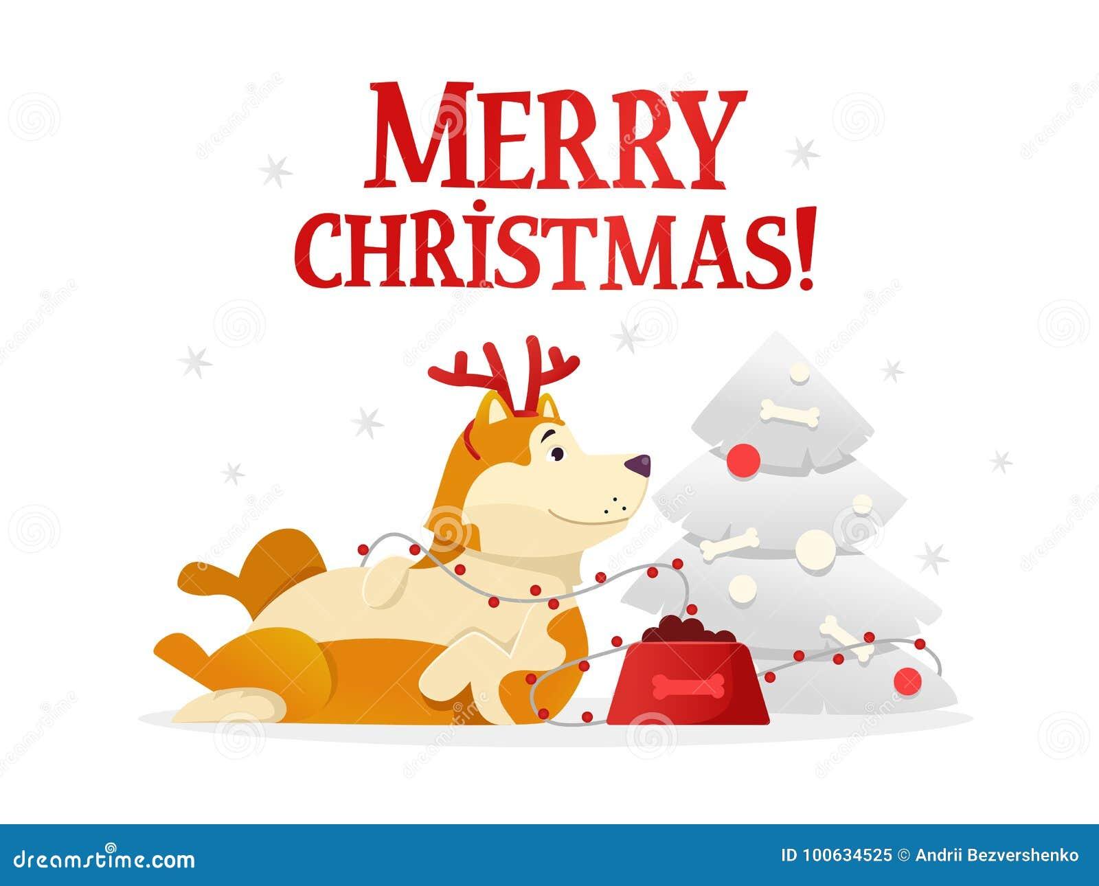 Calibre De Carte Postale De Joyeux Noël Avec Le Chien Jaune