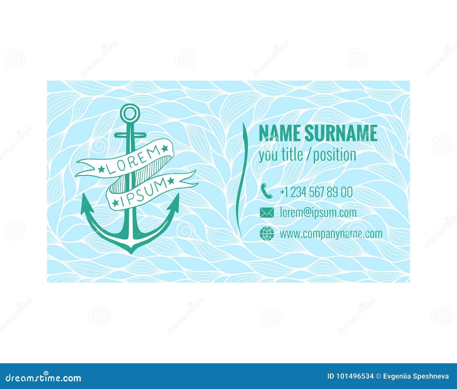 Calibre De Carte Visite Professionnelle Pour Le Club Yacht Transport Maritime Ou Lagence Voyages Conception Nautique Template